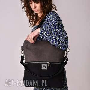 ręcznie wykonane torebki czarno szara torba z wodoodpornego nubuku