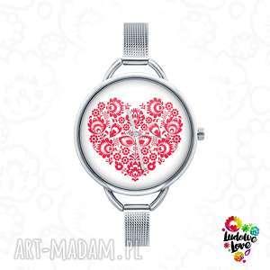 zegarek z grafiką ludowe love, folk, etniczne, ludowy, miłość, serce, walentynki