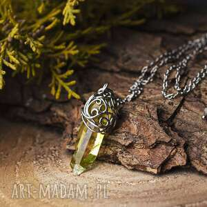 hand made wisiorki wisiorek talizman kryształ górski, stal chirurgiczna, wire