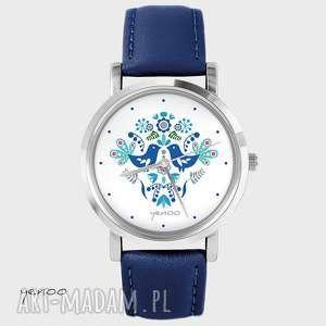 zegarek, bransoletka - folkowe ptaszki, niebieskie granatowy, skórzany