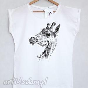 koszulki żyrafa koszulka oversize biała xs s, koszulka, t shirt, luźna, bawełna