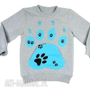 Bawełniana bluza dresowa, psie łapy 68-116, bluza-dresowa, szara-bluza