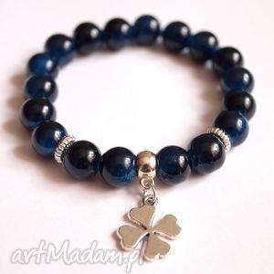 bransoleta navy stones clover, kamienie, koniczyna, zawieszka, charms