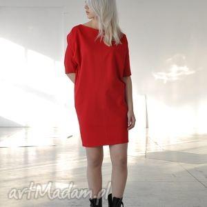 sukienki ave - czerwona, wyjściowa, praca, kobieca, asymetryczna, oversize, elegancka