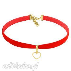 lavoga choker - red velvet - złote naszyjniki, obroża, zawieszka