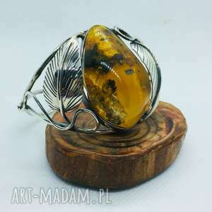 mychoice unikat bransoleta srebrna z bursztynem srebro 925, bransoletka