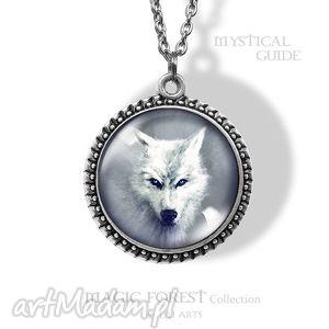 naszyjniki medalion, naszyjnik - biały wilk mystical guide, naszyjnik, medalion