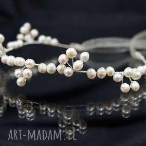 Perłowo ozdoba do włosów, ozdoba, perły, ślub, opaska