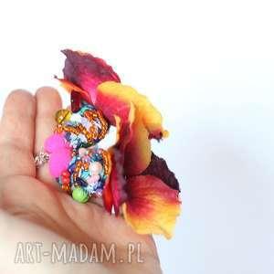 hand-made klipsy klipsy kwiatowe orientalne