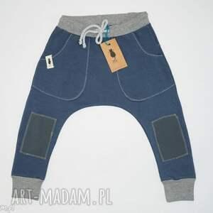 baggy BLUE, spodnie, baggy, dziecko, bawełna, sznurek, łaty