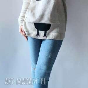 feltrisimi bluza, sweter z kapturem, luźna, oversize, aplikacją, kieszeniami
