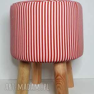 Pufa Czerwone Paseczki - 36 cm , krzesło, taboret, hocker, vintage, stołek, puf