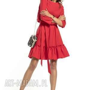sukienki elegancka sukienka z falbaną ściągnięta w pasie, t285, czerwony