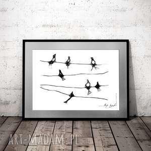 grafika 6 - z serii minimal animal, na ścianę, czarno bialy rysunek