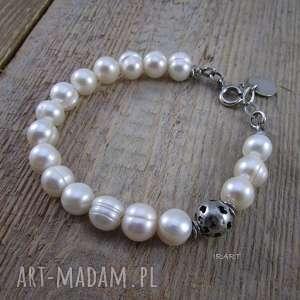 Serduszka z perłą, srebro, perła, bransoletka