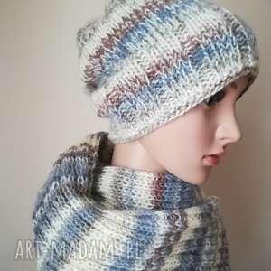 Komplet z olbrzymim szalem, rękodzieło, komplet, szal, czapka, zima, melanż