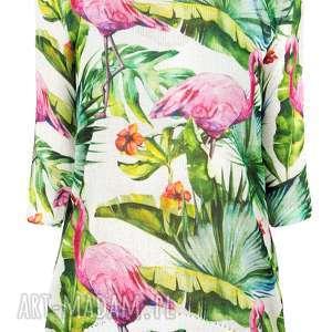 bluzki letni drukowany sweterek s/m,l/xl, flamingi, liście, palmy, bluzka, drukowana