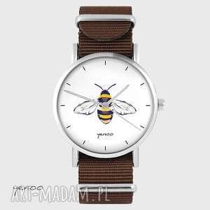 hand made zegarki zegarek - pszczoła brązowy, nato