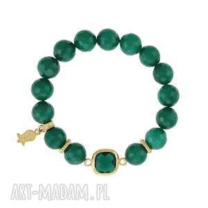 BRANSOLETKA z jadeitów - EARTH ENERGY, jadeit, kryształ, kwiat, szmaragdowy, minerały