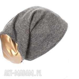 czapka szaro złota dzianinowa ciepła - czapka, szara, sport, dzianina, prezent