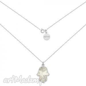 handmade naszyjniki srebrny naszyjnik z kryształową ręką fatimy swarovski® crystal