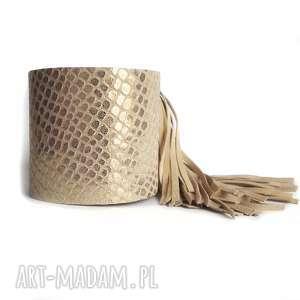 ręcznie zrobione bransoleta skórzana złota frędzle