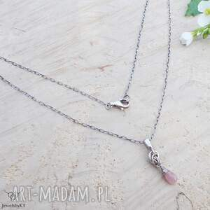 handmade naszyjniki różowe kropelki rubinu - naszyjnik