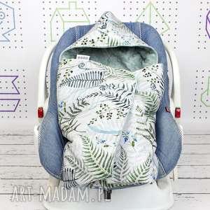 handmade dla dziecka kocyk do nosidła samochodowego paproć