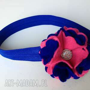 myska opaska niemowlęca - szafir z różem, prezent, roczek, chrzest, sesja, filc
