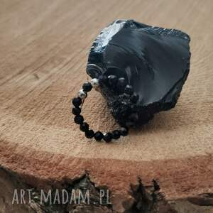 pierścionek z onyksem - galaxy, onyks, kamieniami