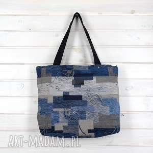amelia pojemna shopperka niebieska - torebka, torba, pojemna, mocna, wytrzymała