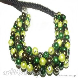 ręcznie robione naszyjniki zielona żyłka
