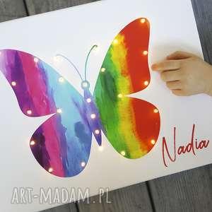 cosniecos świecący motyl tęczowy obraz led prezent dla dziewczynki