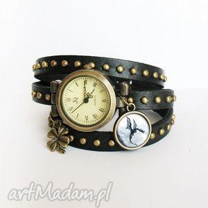 hand made bransoletka, zegarek - czarny smok czarny, nity, skórzany