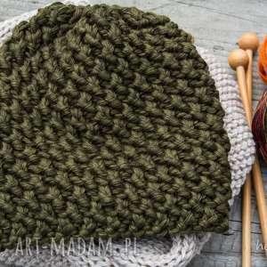 czapka handmade - militarna zieleń - czapka, wełna, zrobiona na drutach