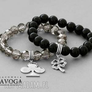 black diamond crystal & black agathe set - czarne bransoletki, kryształek
