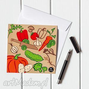 autorska kartka pocztowa warzywa, kartka, pocztówka, ilustracja, prezent, warzywa