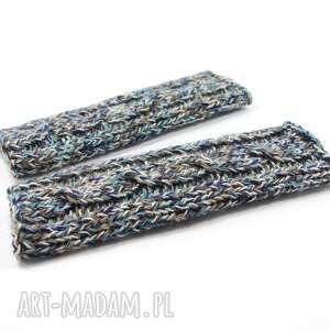 hand-made rękawiczki długie mitenki bez palców z warkoczem robione