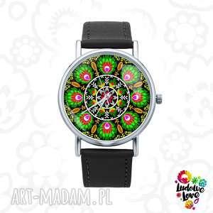 Zegarek z grafiką wycinanka łowicka zegarki ludowelove polski