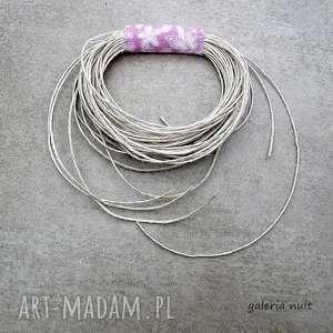eko wheel - lniana broszka w kwiaty - kwiaty, magenta, len, lniana, ekologiczna, nalato