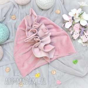 turban velvet brudny róż, welurowy, velvet, dla dziewczynki