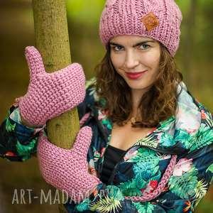 ręcznie robione rękawiczki kwarcowy róż