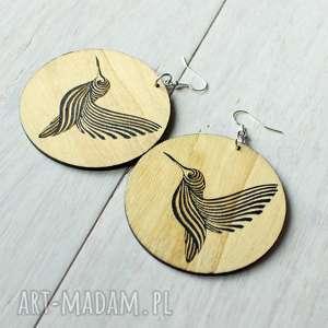 duże drewniane kolczyki koliber, drewniane, duże, wiszące, prezent