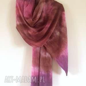 Anna Damzyn: pastelowy wełniany szal (wełna, dzianina, prezent unikat ciepły)