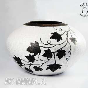 Wazon Raku Liście winorośli, ceramika, raku, krakle, wazon, ceramika-artystyczna