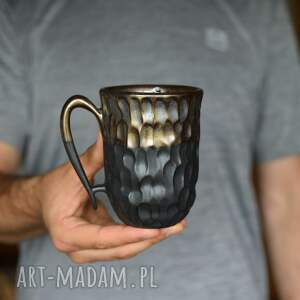 kubek czarne złoto ceramika 325 ml, kubek, ceramiczny, ceramika