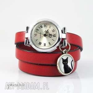 Prezent Zegarek, bransoletka - Czarny kot czerwony, skórzany, zegarek,