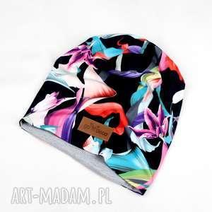Kolorowa ciepła czapka beanie w kwiaty, czapka, beanie, ciepła, kolorowa, unisex