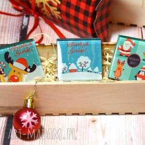 pomysł na prezenty świąteczne Zestaw szklanych magnesów - trzy sztuki w drewnianym