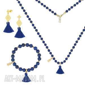 KOMPLET z lapisów lazuli z chwostami - BOHO - ,lapis,lazuli,minerał,chwost,boho,